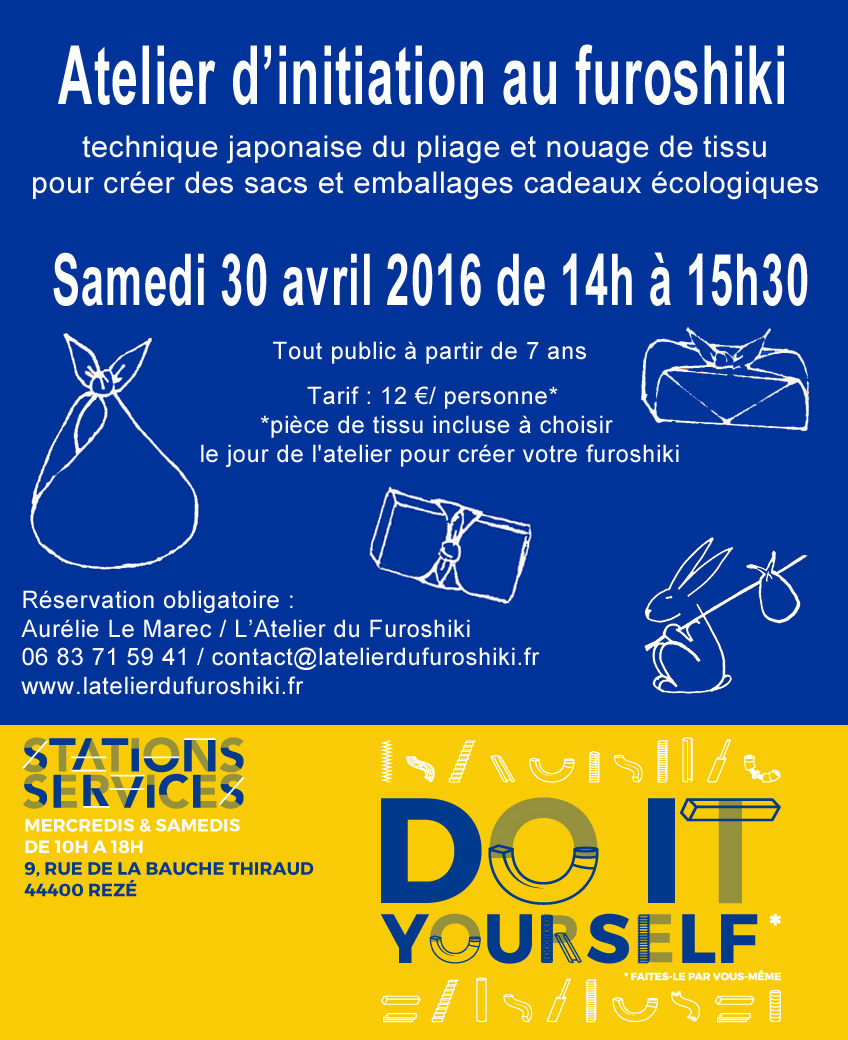 Atelier d'initiation au furoshiki à Stations Services, Rezé